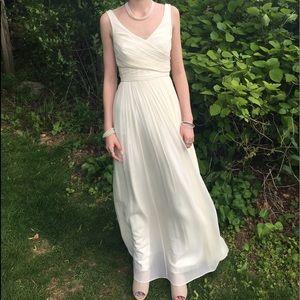 Cream J Crew formal gown silk Chiffon